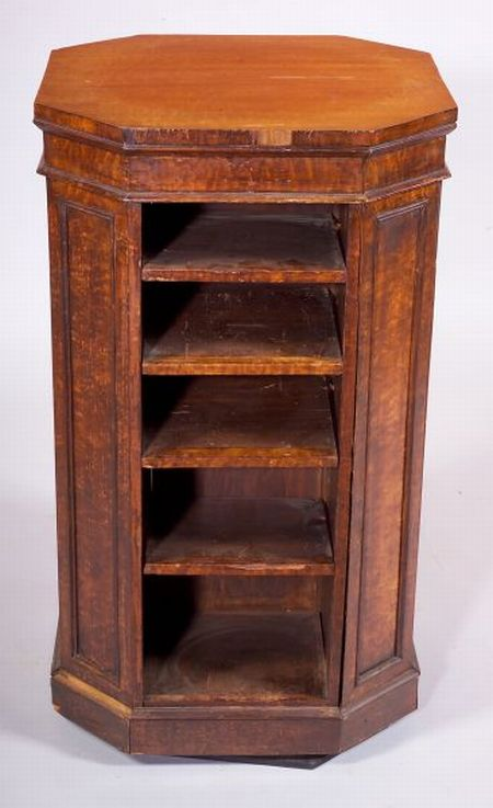 Regency-style Satinwood and Fruitwood  Rotating Bookcase