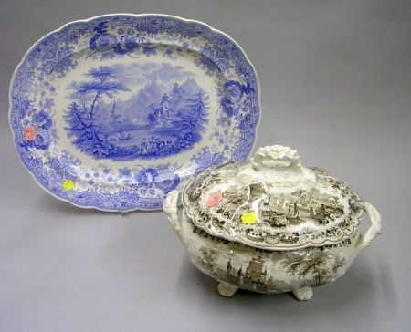 English Brown and White Transfer Decorated Staffordshire Covered Tureen and a Blue and White Tyrolean Pattern Platter.