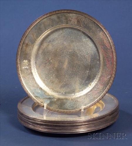Set of Twelve Dominick & Haff Hammered Sterling Side Plates