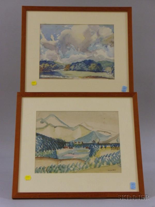 Four Framed Watercolor Landscapes