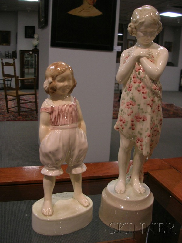 Two Goldscheider Porcelain Figures of Young Girls