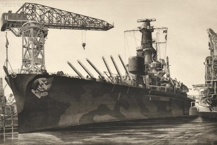 John Taylor Arms (American, 1887-1953) Lot of Two Warship Views: Battle Wagon - U.S.S. Alabama Outfitting at Norfolk Navy Yard, Crane S