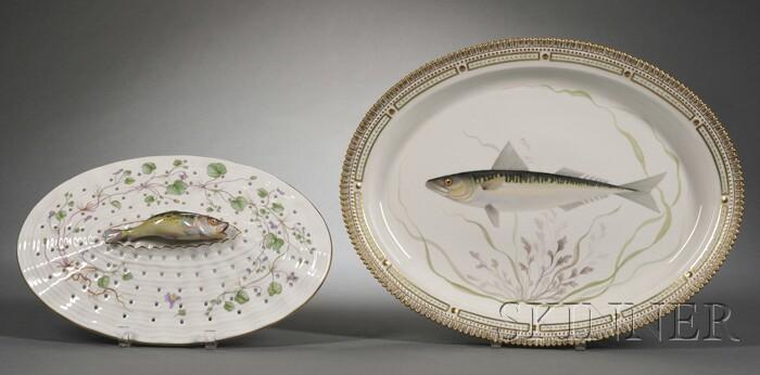 "Royal Copenhagen Porcelain ""Flora Danica"" Fish-decorated Serving Platter and   Strainer"
