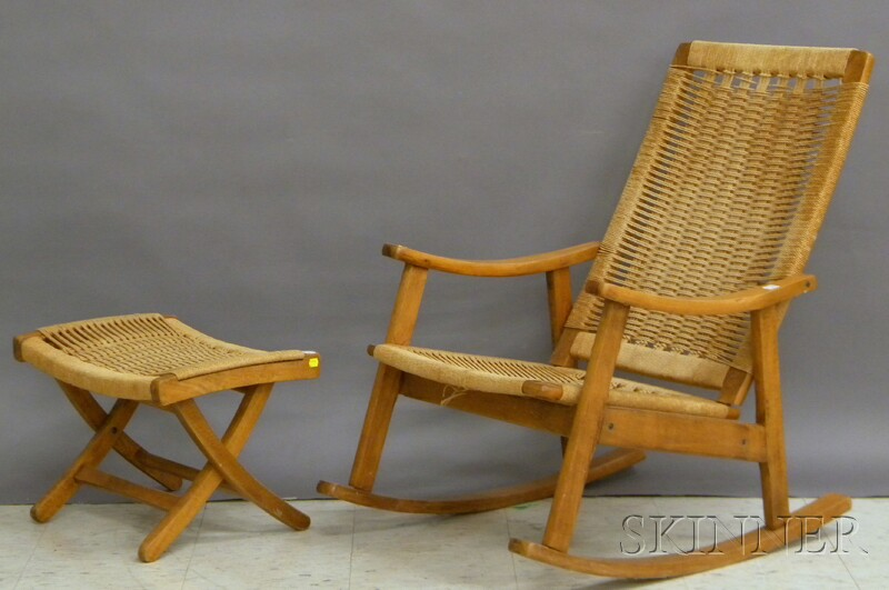 Hans Wegner-style Modern Woven Rope and Beechwood Armrocker and Footstool