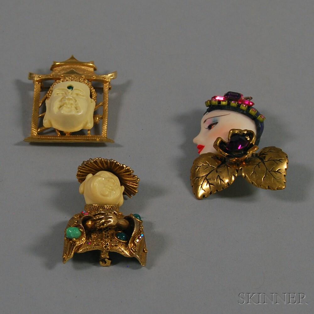 Three Ornate Figural Costume Brooches