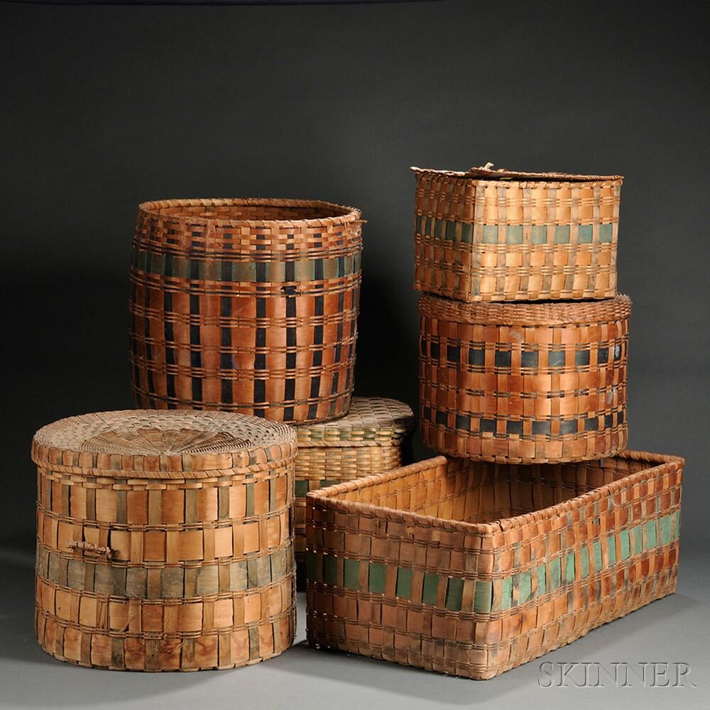 Six Paint-decorated Splint Baskets