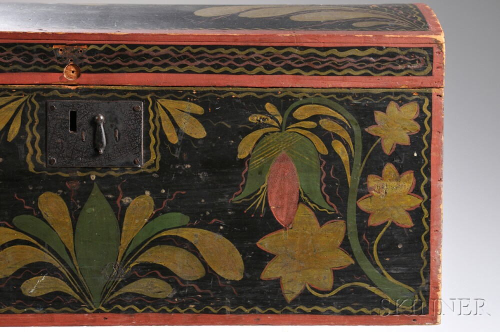 Paint-decorated Pine Dome-top Trunk