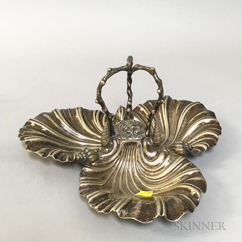 Silver-plated Triple Shell-form Serving Dish