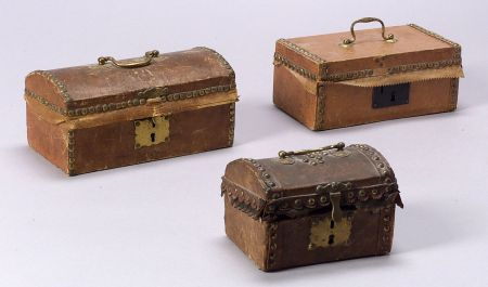 Three Small Hide-Covered Boxes