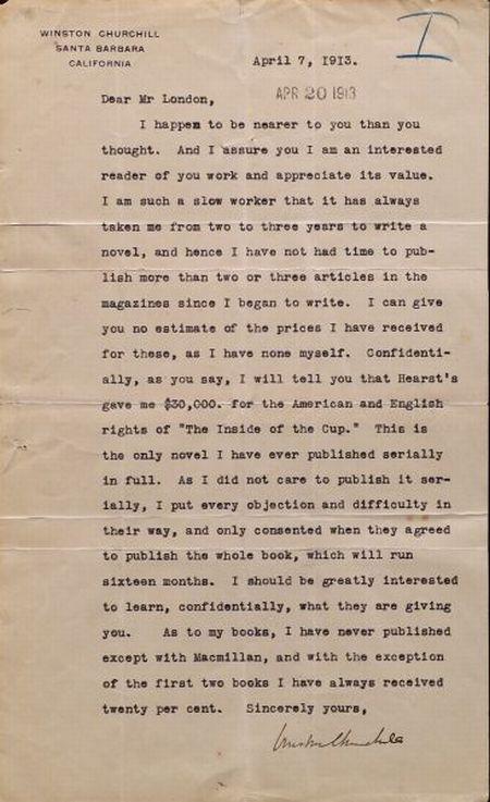 Churchill, Winston, (1871-1947), and Jack London, Association Letter