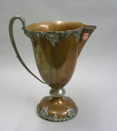 Large W. Cowlishaw Cast Metal Grapevine Mounted Copper Trophy Pitcher