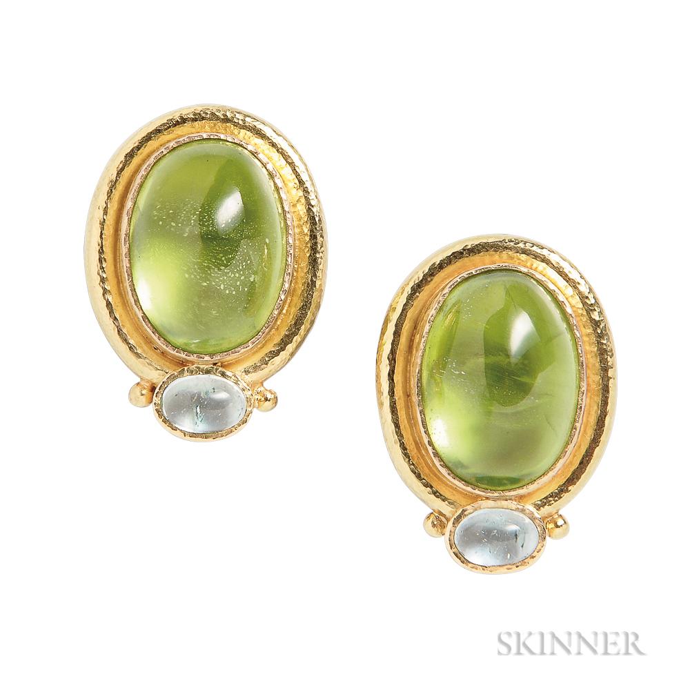 19kt Gold, Peridot, and Aquamarine Earrings, Elizabeth Locke