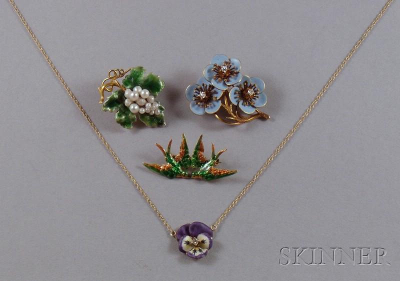 Four Art Nouveau 14kt Gold and Enamel Jewelry Items