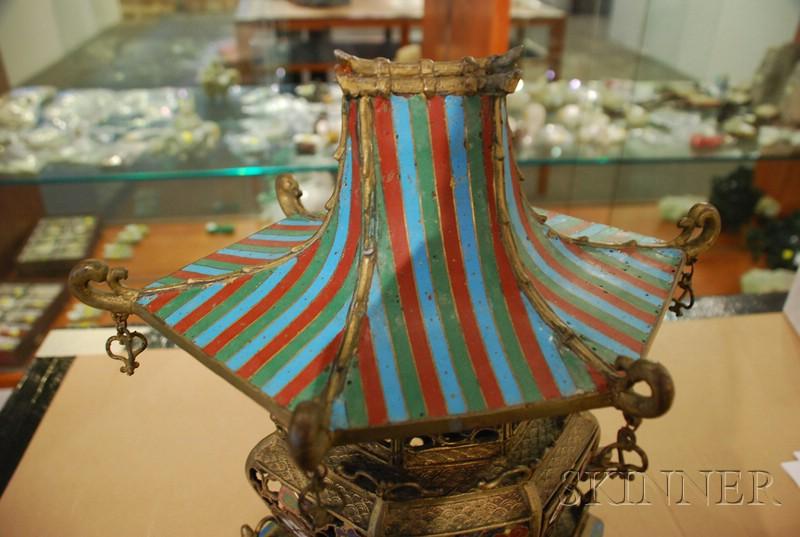 Champleve Enameled Lantern