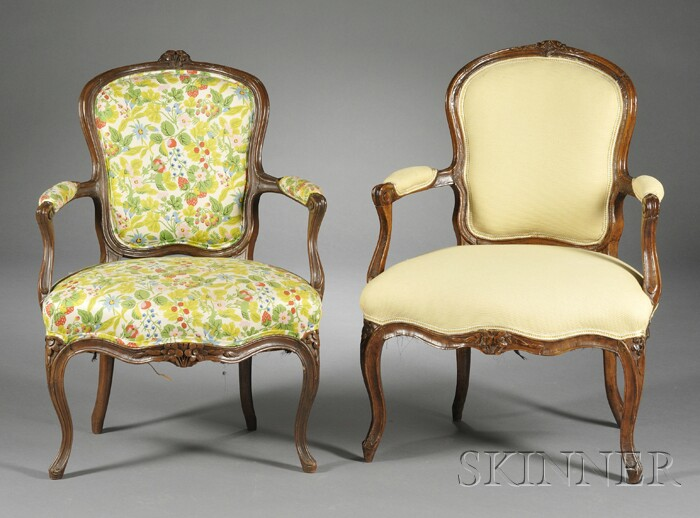 Two Louis XV-style Fruitwood Upholstered Fauteuils