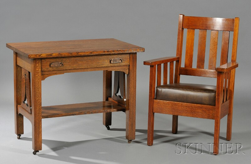 Arts & Crafts Movement Desk and Armchair