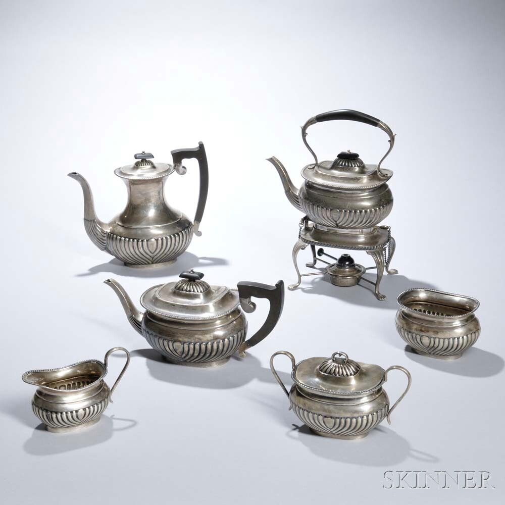 Six Piece George VI Sterling Silver Tea and Coffee Service
