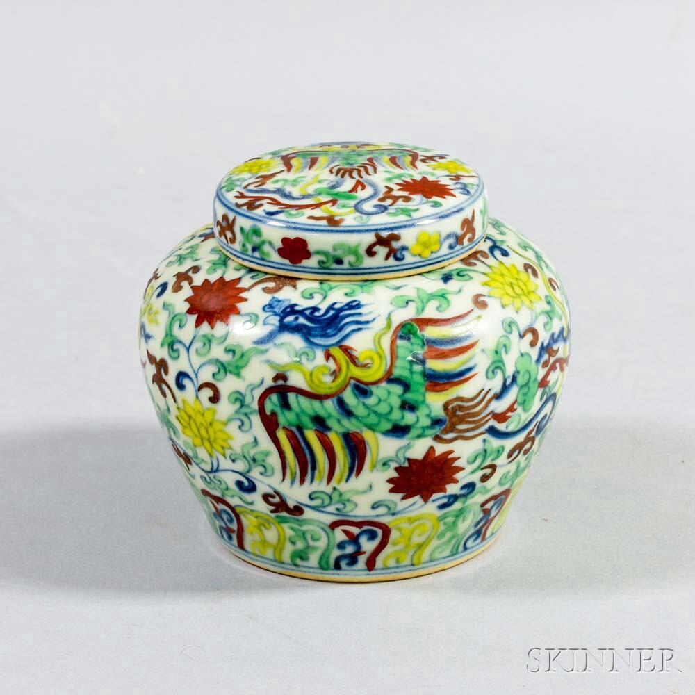 Wucai-style Covered Jar