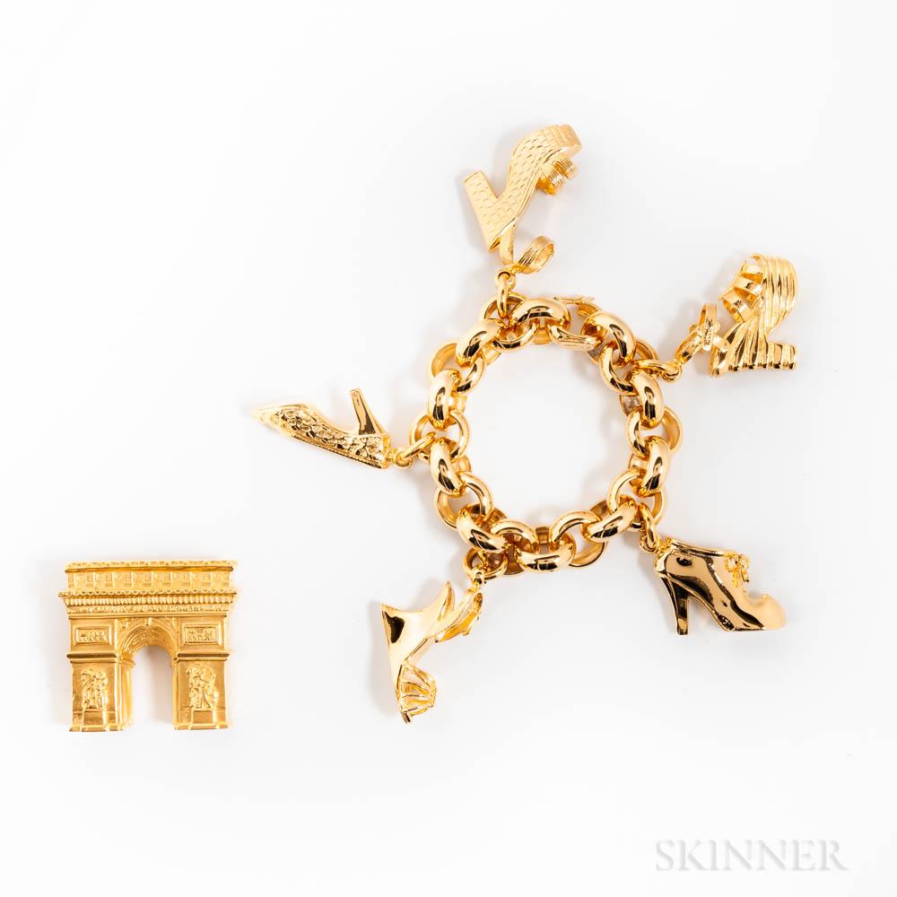 Salvatore Ferragamo Shoe Charm Bracelet and Karl Lagerfeld Arc de Triomphe Brooch