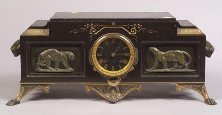 Renaissance Revival Black Slate and Barye Bronze Mounted Mantel Clock