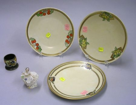 Set of Three Hand-painted Porcelain Plates, a Gouda Pottery Match Urn, and a Small Dresden Porcelain Ballerina Figure.