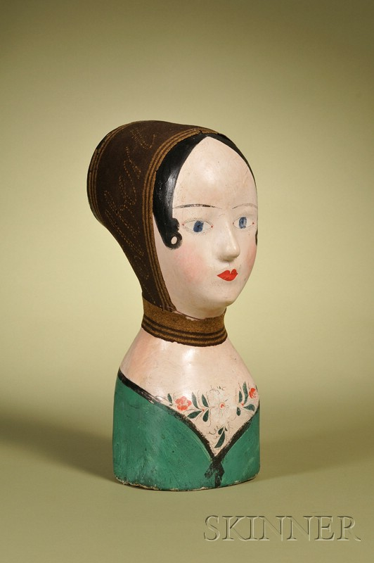 French Painted Papier-mache Milliner's Head