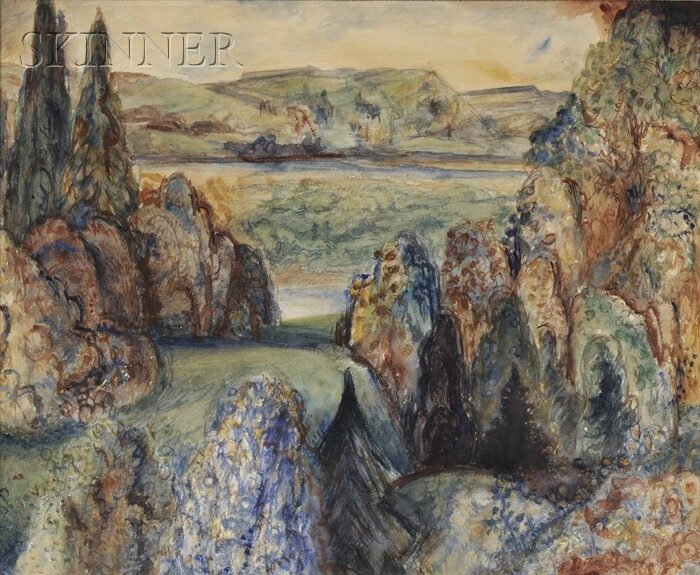 Albert Bloch (American, 1882-1961)      Blue Landscape