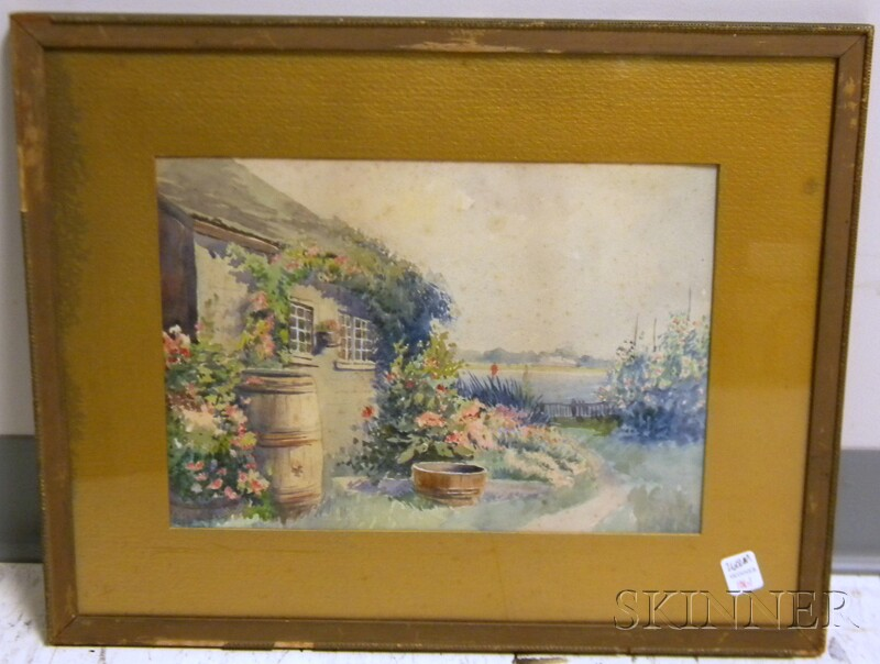 19th/20th Century American School Watercolor on Paper View from Cottage to the   Water, possibly Nantucket