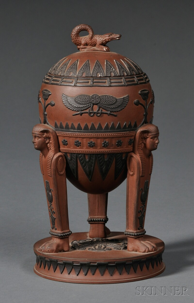 Wedgwood Rosso Antico Egyptian Vase and Cover