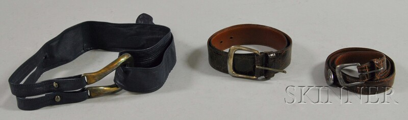 Two Ralph Lauren Brown Alligator Belts with Sterling Buckles