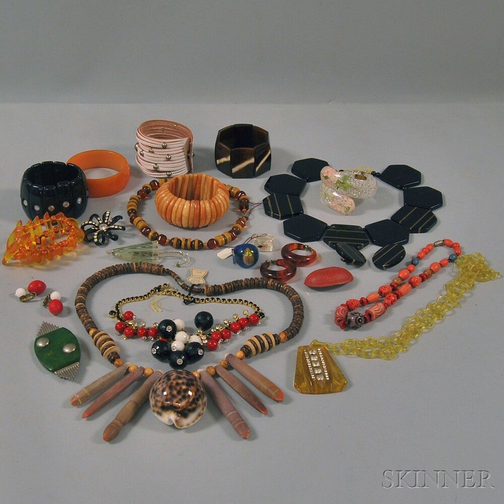 Collection of Bakelite and Costume JewelryCollection of Bakelite and...