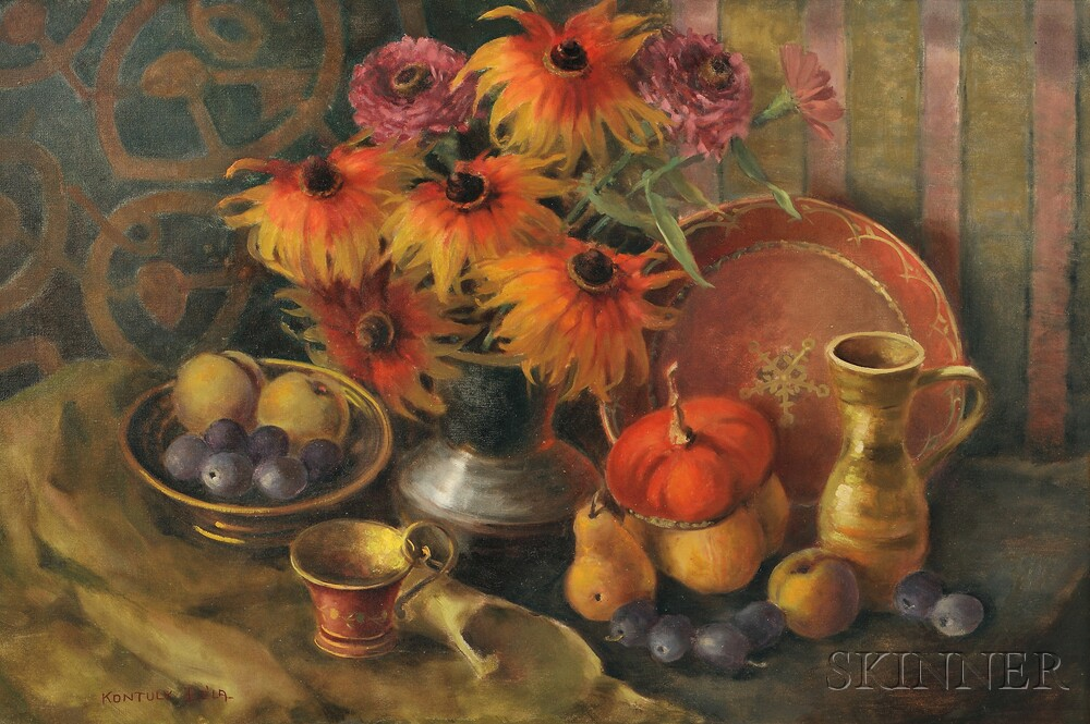 Bela Kontuly (Hungarian, 1904-1983)    Still Life with Fruit and Flowers