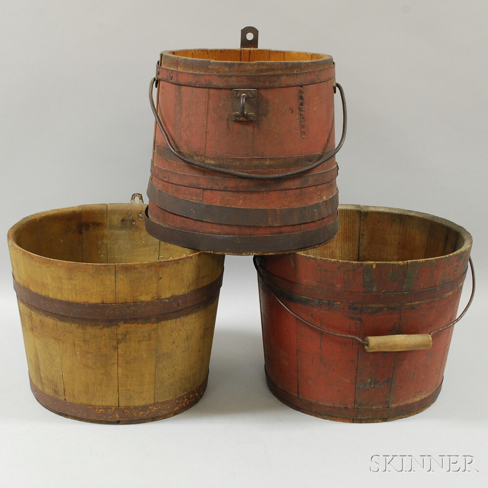 Three Painted Staved Wood Pails