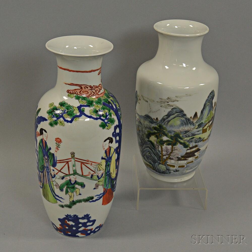 Two Enameled Porcelain Vases
