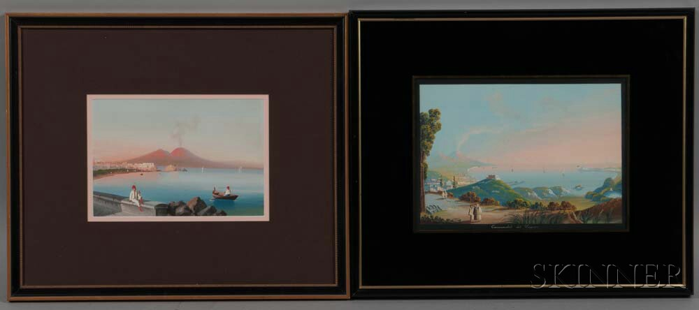 Italian School, 19th/20th Century      Two Framed Views of the Bay of Naples