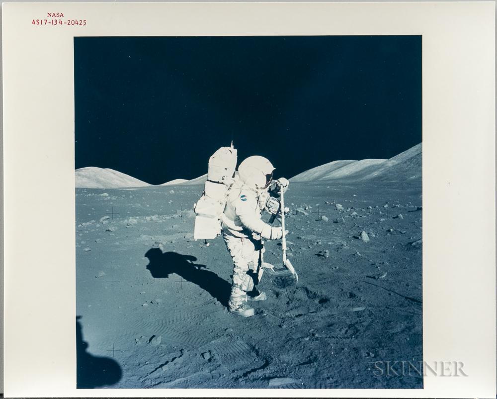 Apollo 17, Harrison Schmitt with Lunar Rake at Steno Crater Station 1.