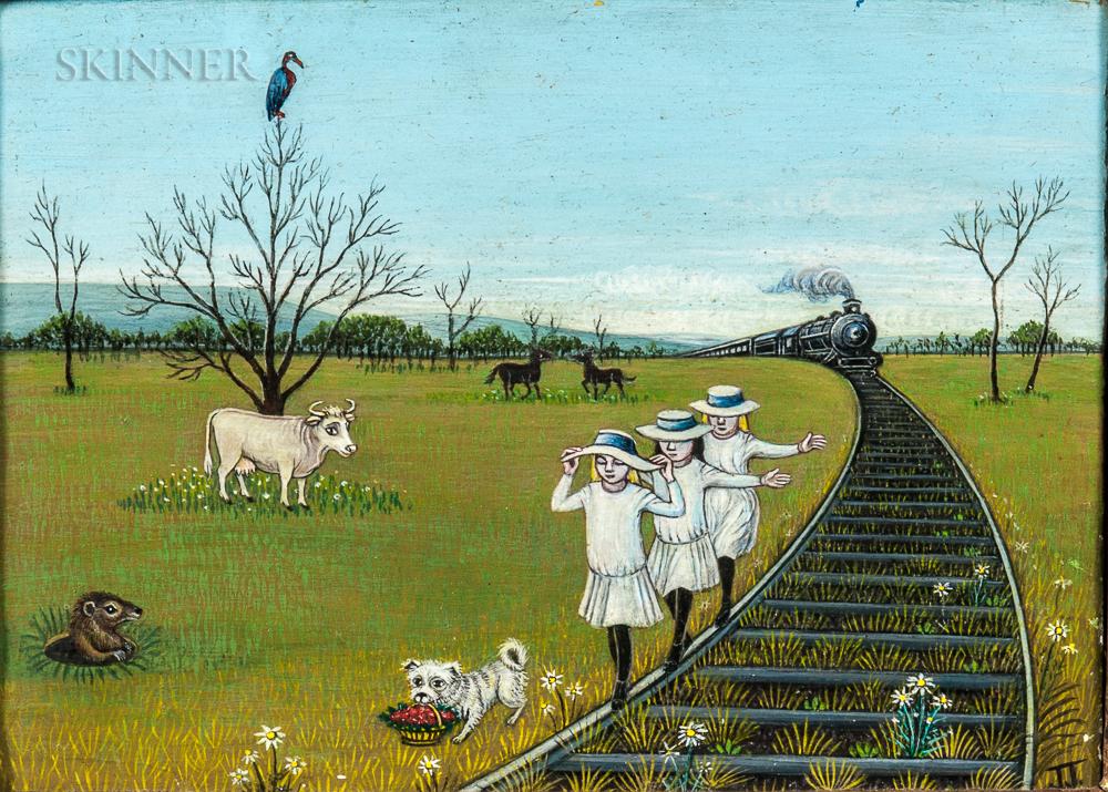 Jean Jones Jackson (American, 1907-1984)      Three Girls on a Railroad Track