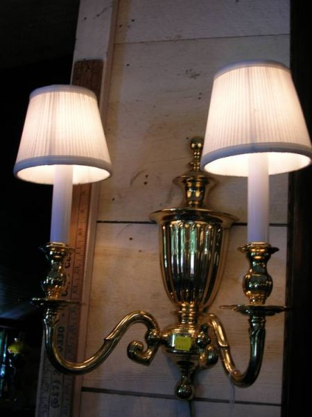 Two Pairs of Brass Light Sconces