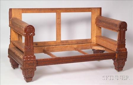 Small Grecian Mahogany Carved Sofa