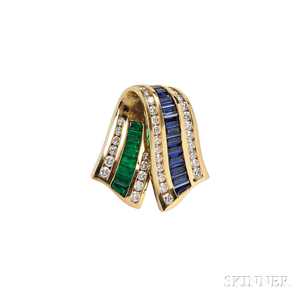 18kt Gold, Sapphire, Emerald, and Diamond Slide, Charles Krypell
