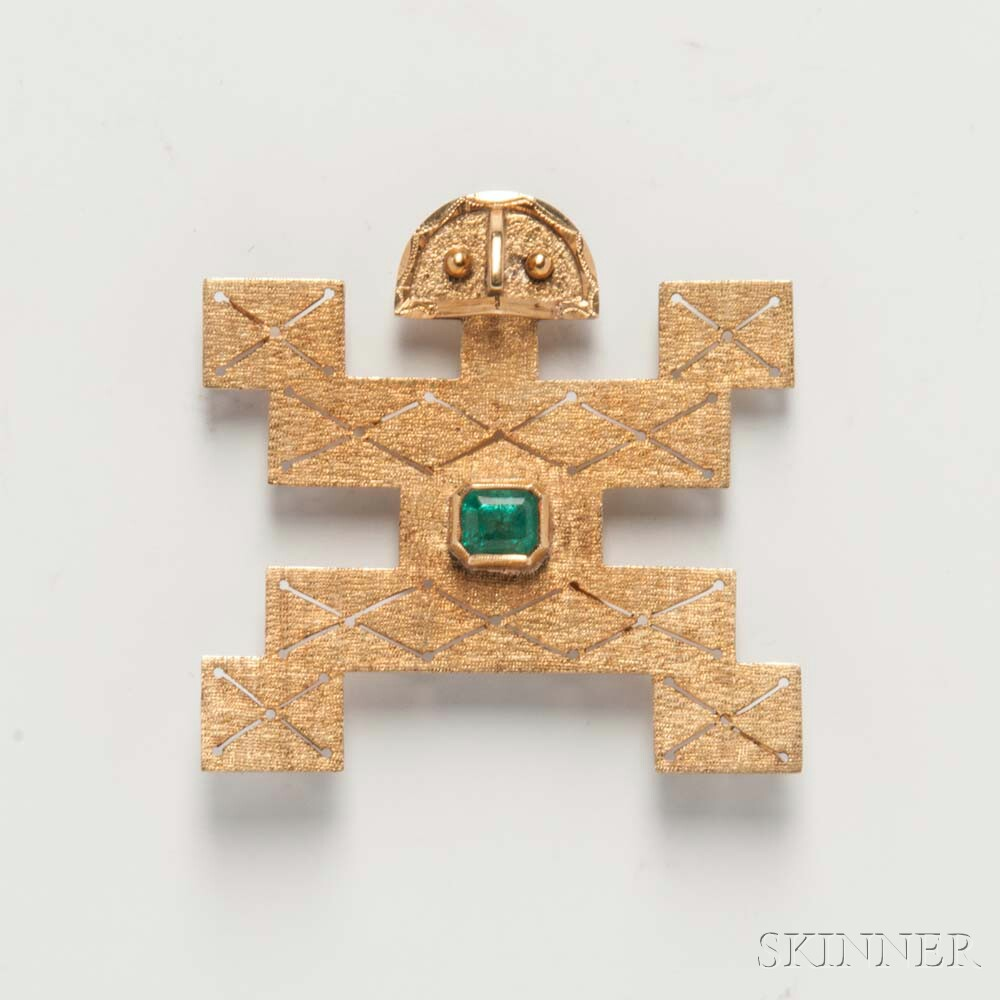 18kt Gold and Emerald Brooch