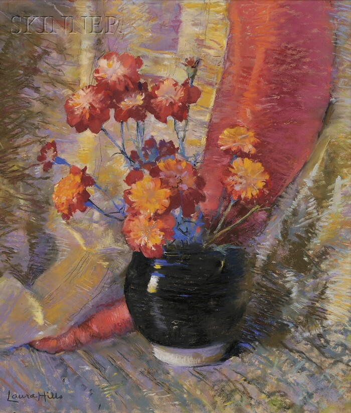 Laura Coombs Hills (American, 1859-1952)      French Marigolds No. 1