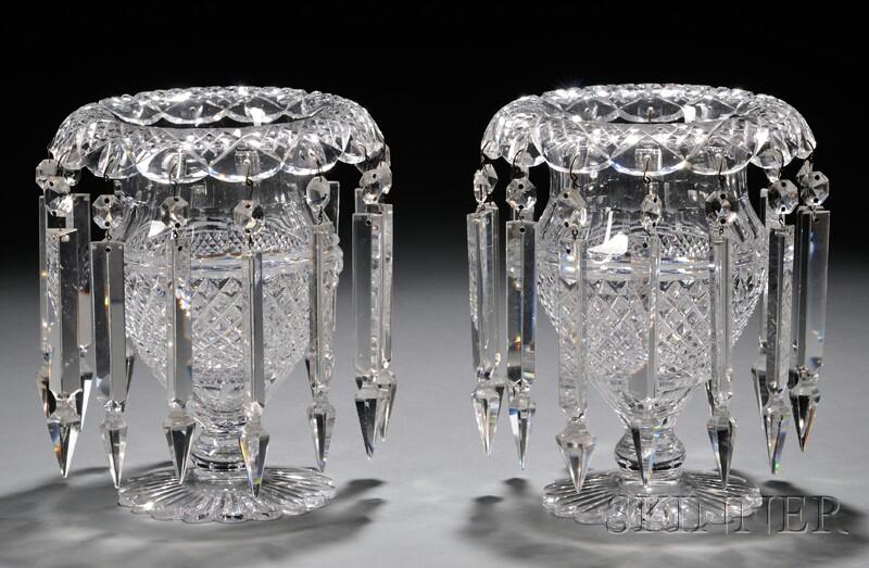 Pair of Cut Glass Girandoles