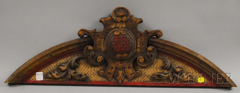 Painted Carved Wood Cornice