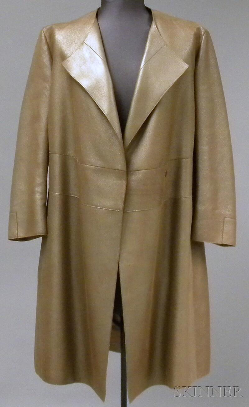 Akris Metallic Knee-length Leather Jacket