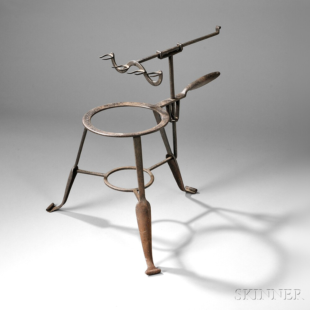 Wrought Iron Standing Roaster and Trivet