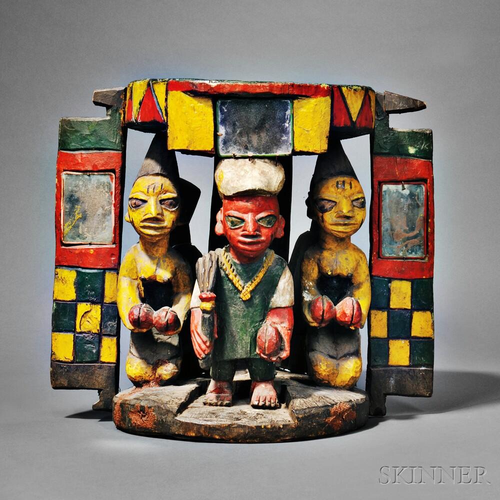 Yoruba Polychrome Carved Wood Shrine Group