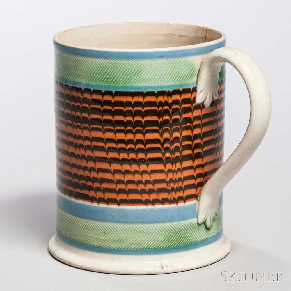 Mocha-decorated Pearlware Quart Mug