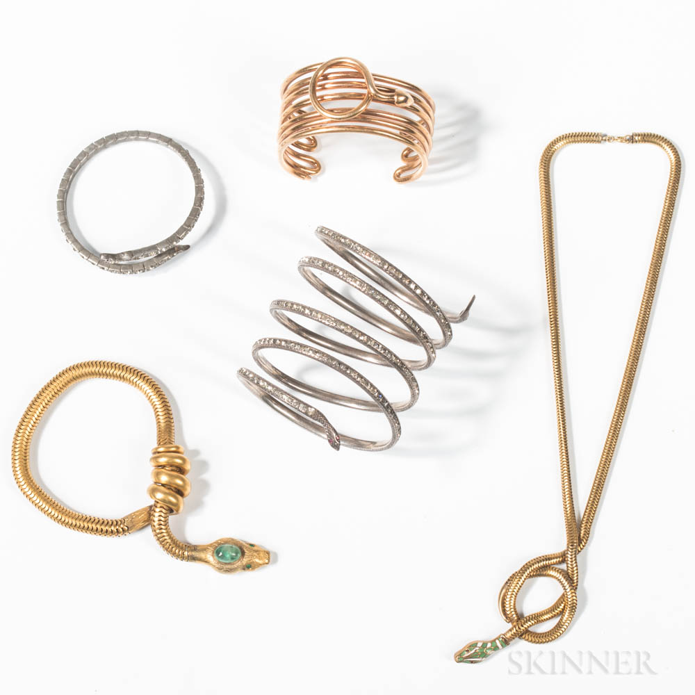 Five Pieces of Snake Costume Jewelry