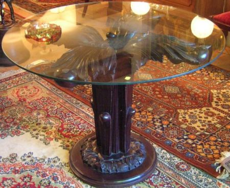 Asian Naturalistically Carved Hardwood Table Base with Circular Colorless Glass Top.